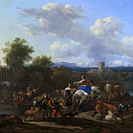 Ferry with livestock, Nicolaes (Claes Pietersz.) Berchem