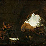 Cave with shepherds and cattle