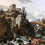Landscape with a waterfall and the Temple of the Sibyl at Tivoli, Nicolaes (Claes Pietersz.) Berchem