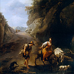 Nicolaes (Claes Pietersz.) Berchem - A Rocky Italianate Landscape with a Woman on a Donkey and a Shepherd