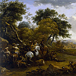 Nicolaes (Claes Pietersz.) Berchem - Landscape with a Hunting Party