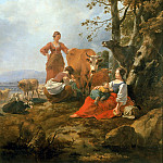 Landscape with herdswomen