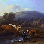 Nicolaes (Claes Pietersz.) Berchem - Peasants with Cattle fording a Stream