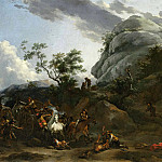 Nicolaes (Claes Pietersz.) Berchem - A mountainous landscape with travellers being ambushed