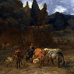 An Italianate Landscape With Shepherds Herding Their Sheep And Cattle, Nicolaes (Claes Pietersz.) Berchem
