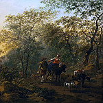 Nicolaes (Claes Pietersz.) Berchem - An Italianate landscape with a shepherdess and a drover