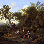 Nicolaes (Claes Pietersz.) Berchem - A PASTORAL LANDSCAPE WITH A PEASANT GIRL MILKING AND A SHEPHERD PLAYING THE FLUTE