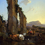 Nicolaes (Claes Pietersz.) Berchem - Peasants by a Ruined Aqueduc