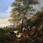 Nicolaes (Claes Pietersz.) Berchem - A rocky wooded landscape with peasants and their livestock