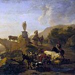 Nicolaes (Claes Pietersz.) Berchem - Italian landscape with bridge
