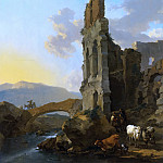 Nicolaes (Claes Pietersz.) Berchem - ITALIANATE RIVER LANDSCAPE WITH HERDSMEN BY THE RUINS OF AN AMPHITHEATRE