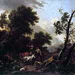 Italian landscape with two girls and a herd, Nicolaes (Claes Pietersz.) Berchem
