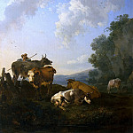 Nicolaes (Claes Pietersz.) Berchem - Landscape with Cows and a shepherd