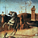 Pesaro Altarpiece, detail – St George killing the dragon, Giovanni Bellini