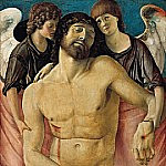 Giovanni Bellini - The dead Christ, two mourning angels supported
