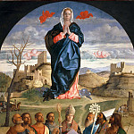 Virgin Mary in glory with the Saints Peter, John the Evangelist, Mark, Francis of Assisi, Louis of Toulouse, Antonius Abbas, Augustine and John the Baptist, Giovanni Bellini