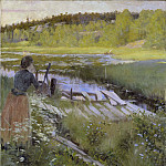 Gustav Oskar Bjorck - By the Lake. View from Balingsta