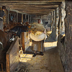 Gustav Oskar Bjorck - Feeding Time in a Cow-Shed