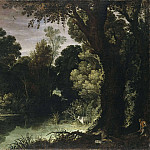Paul Bril - Landscape with Duck-hunters [After]