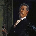 Hugo von Habermann - Self-portrait with wine glass