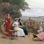 Jules Frederic Ballavoine - Painting on the Terrace