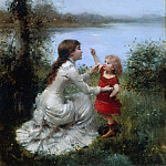 Jules Frederic Ballavoine - At Play by the Lake
