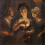Girl Holding a Candle Standing between a Fiddler and an Old Woman