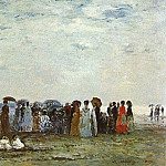 Eugene Boudin - BATHERS ON THE BEACH AT TROUVILLE, 1869, OIL ON WOOD
