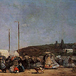 Eugene Boudin - THE BEACH AT TROUVILLE, DETAIL, 1864, OIL ON CANVAS