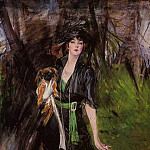 Portrait of a Lady Lina Bilitis with Two Pekinese, Giovanni Boldini