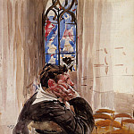 Portrait of a Man in Church , Giovanni Boldini