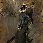 Lady Wearing a Straw Bonnet Morning Promenade 1902 05, Giovanni Boldini