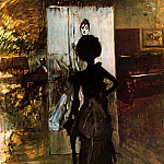 Giovanni Boldini - Woman in Black who Watches the Pastel of Signora Emiliana Concha de Ossa 1888