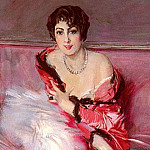 Giovanni Boldini - Portrait Of Madame Juillard In Red 1912