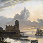 German River Landscape with a Town