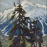 Anna Katarina Boberg - Fir Trees in front of the Mountains. Study from North Norway
