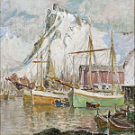 Anna Katarina Boberg - In the Harbour, Svolvaer. Study from Lofoten
