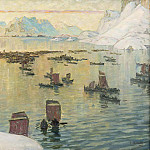 Anna Katarina Boberg - The Fishing Fleet Going Out. Study from North Norway