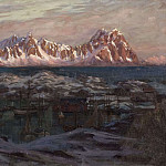 Anna Katarina Boberg - Fishing Harbour with Sunlit Mountains. Study from North Norway