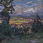 Anna Katarina Boberg - Landscape with a Village. Study from North Norway