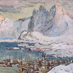 Anna Katarina Boberg - Svolvaer Harbour at the Height of the Fishing Season.Study from Lofoten