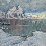 Boats between the Mountains. Study from Lofoten