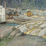 The Village at the Foot of the Mountain. Study from Lofoten