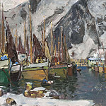 Anna Katarina Boberg - Among the Fishing Boats in Svolvaer. Study from Lofoten