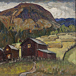 Anna Katarina Boberg - Summer Landscape with Shielings. Study from North Norway