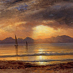 Albert Bierstadt - Sunset over a Mountain Lake