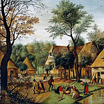 Pieter Brueghel the Younger - Rural landscape with peasants diners