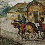 Pieter Brueghel the Younger - Peasants in an open wagon