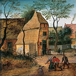 Pieter Brueghel the Younger - A Drunkard being taken Home from the Tavern by his Wife