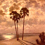 Albert Ernest Backus - gentle breezes moonlight on cape coral beach